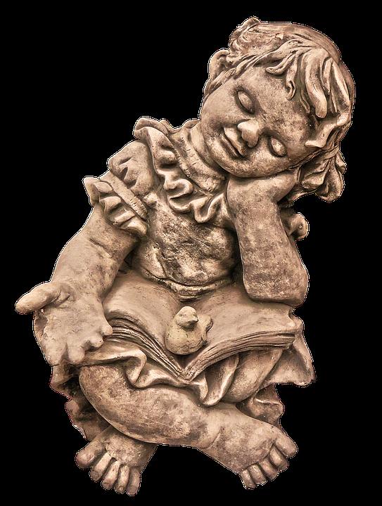 Figure, Girl, Book, Sitting, Sleep, Ceramic, Read