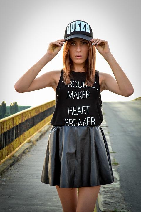 Girl, Skirt, Hat, Bridge