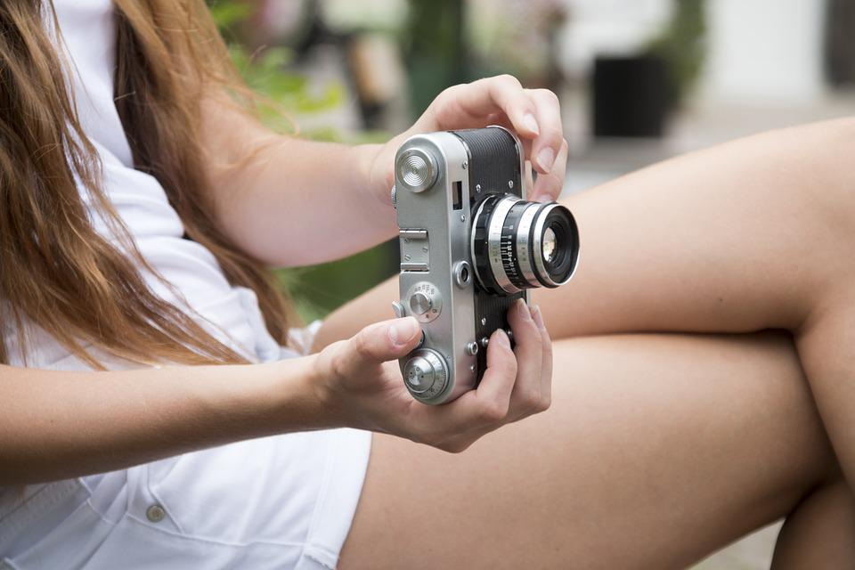 Girl, Camera, Photographs, Retro, Old, City, Travel