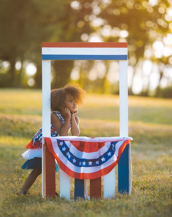 Girl, Child, Flag, Celebration, Patriotic, July 4th
