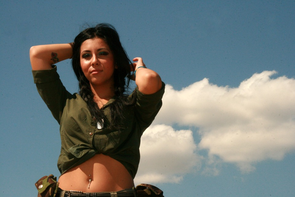 Girl, Scout, Army, Sensuality, Sky, Cloud