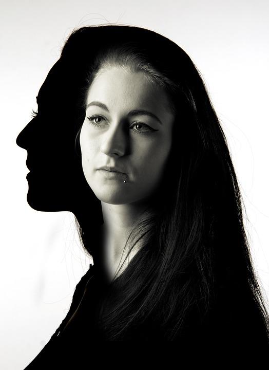 Silhouette, Black, White, Woman, Girl, Art, Creative