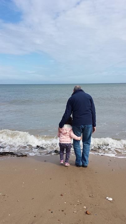 Beach, Hug, Grandad, Girl, Cuddle, Relationship