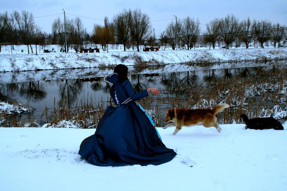 Girl, Princess, Dog, Snow, Blue, Dress, Nice