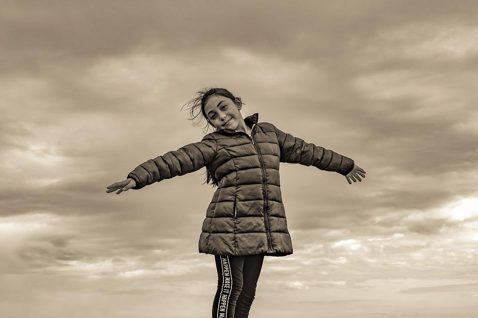 Girl, Sky, Clouds, Enjoying Nature, Childhood, Flying