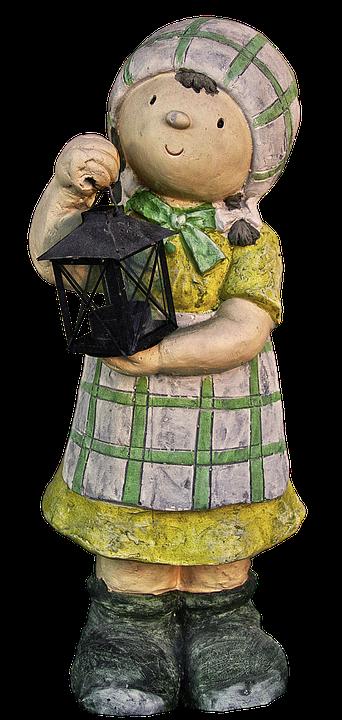 Figure, Girl, Lantern, Sculpture, Garden Figurines, Art