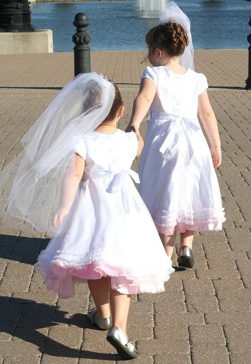 Wedding, Sister, White, Dress, Girl, Flowergirl