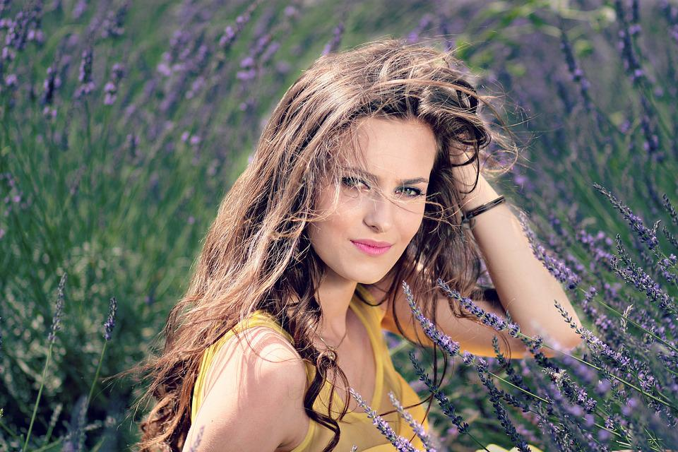 Girl, Lavender, Flowers, Beauty, Nature, Woman