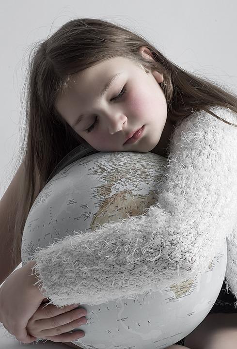 Girl, Young, Portrait, Globe, Sleep, Hug