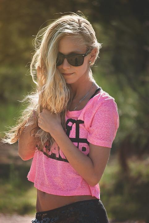 Girl, Portrait, Hair, Standing, Sunglasses, Blonde