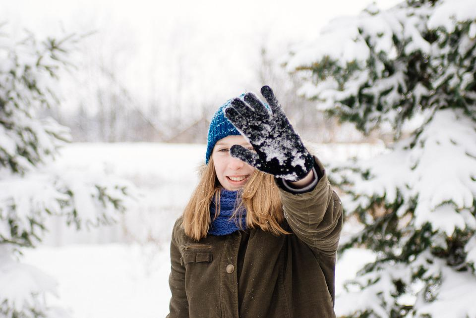 Portrait, Girl, Winter, Female, Snow, Hand, Gloves