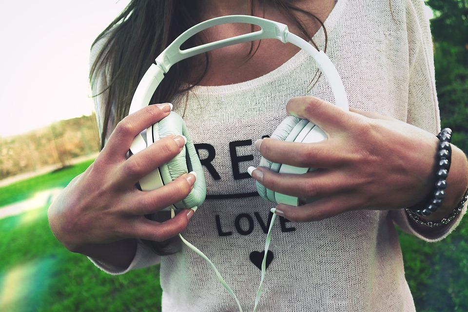 Headphones, Music, Hands, Girl, Woman, People