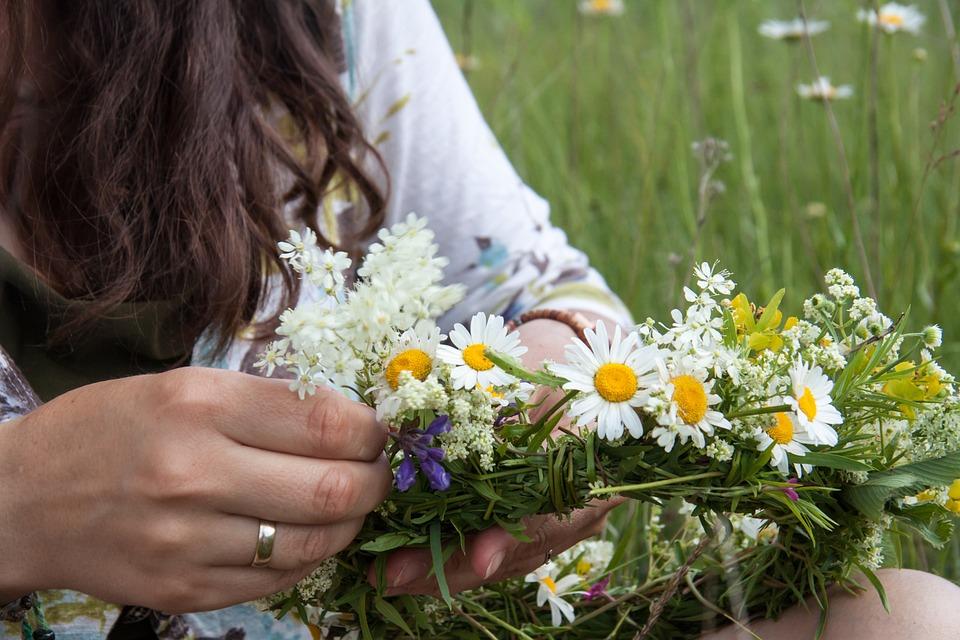 Wreath, Meadow, Girl, Field, Grass, Summer, Hands