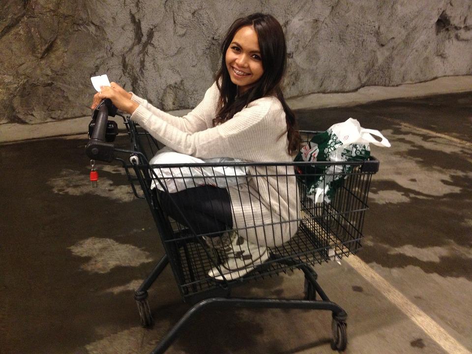 Girl, Fun, Shopping Cart, Happy, Young, Woman, Female