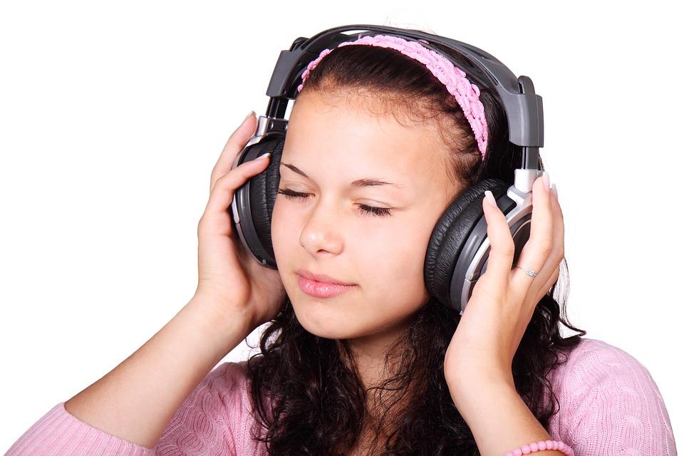 Cute, Female, Girl, Headphones, Isolated, Listen