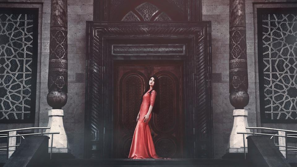 Girl In Red Dress, Long Dress, Posture, Hairstyle