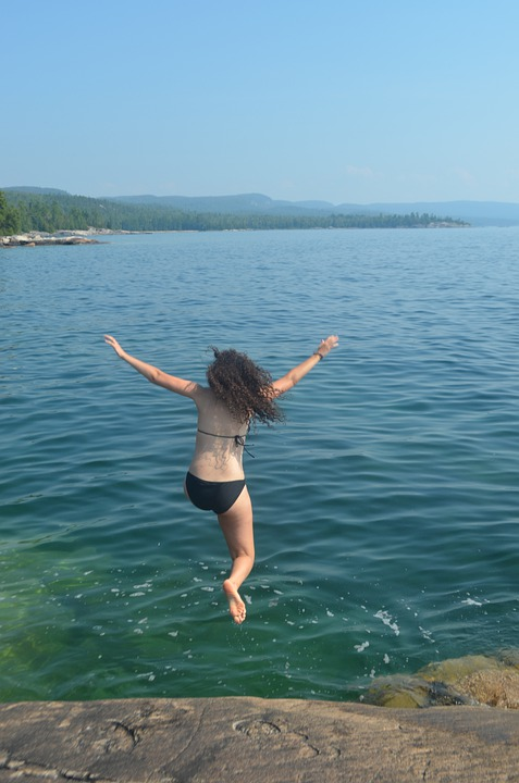 Girl Jumping Into Water, Swimming, Rock Jump