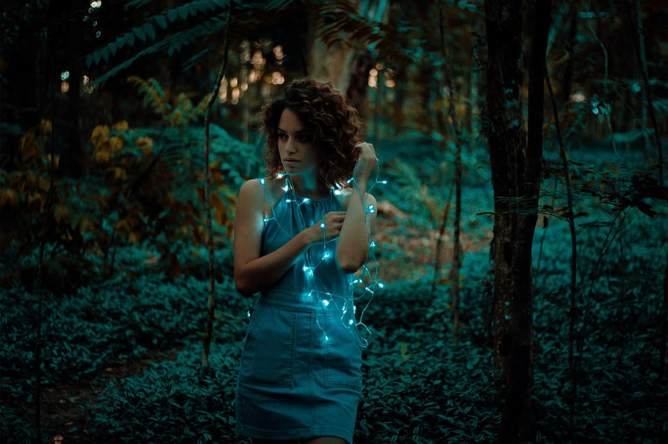 People, Woman, Girl, Lady, Forest, Lights, Trees