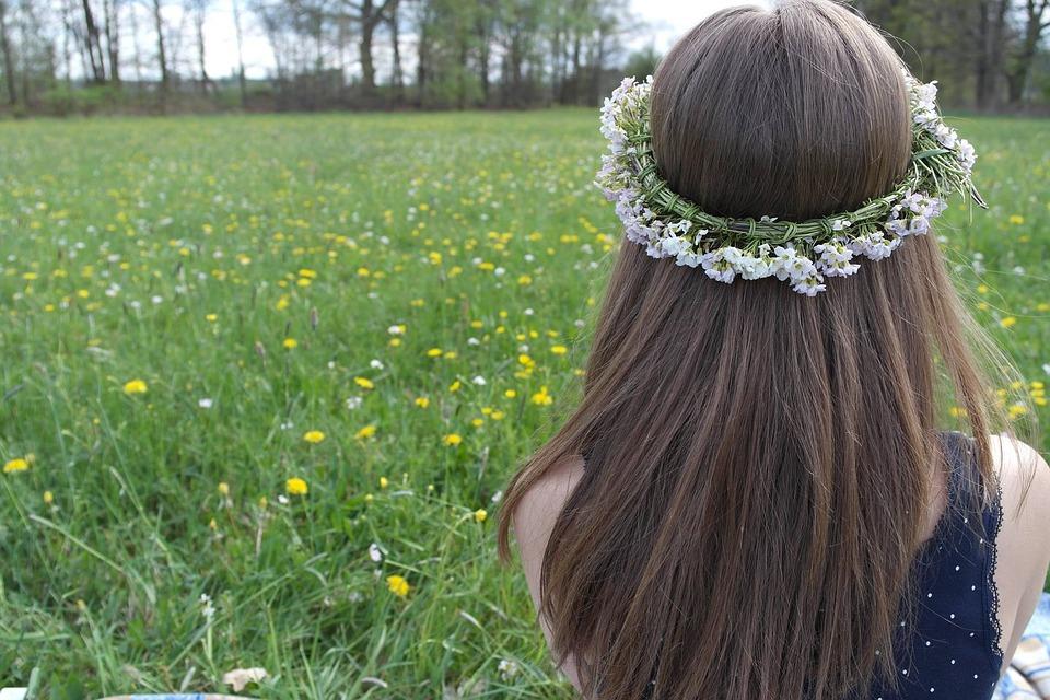 Girl, One, Wreath, Hair, Head, Meadow