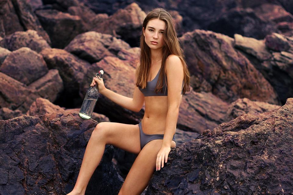 Beautiful, Bikini, Female, Girl, Model, Rocks, Seashore