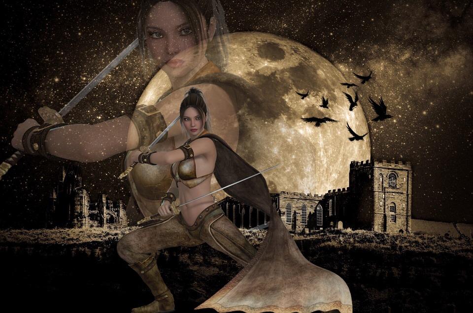 Moon, Warrior, Birds, Castle, Sky, Star, Swords, Girl