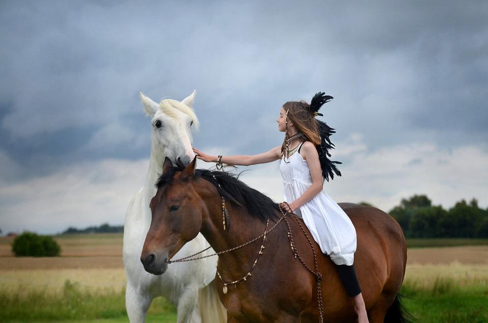 Horse, Girl, Nature, Ride, Friendship, Summer, Native