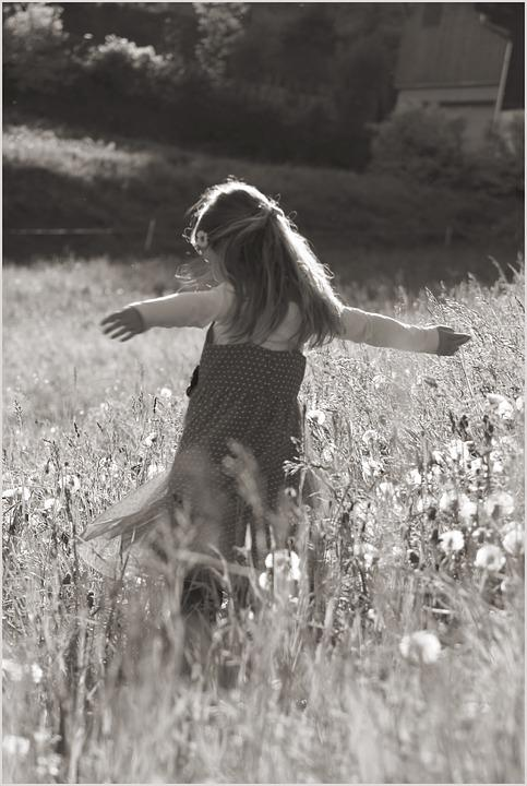 Meadow, Luck, Dance, Sepia, Girl, Child, Nature, Spring