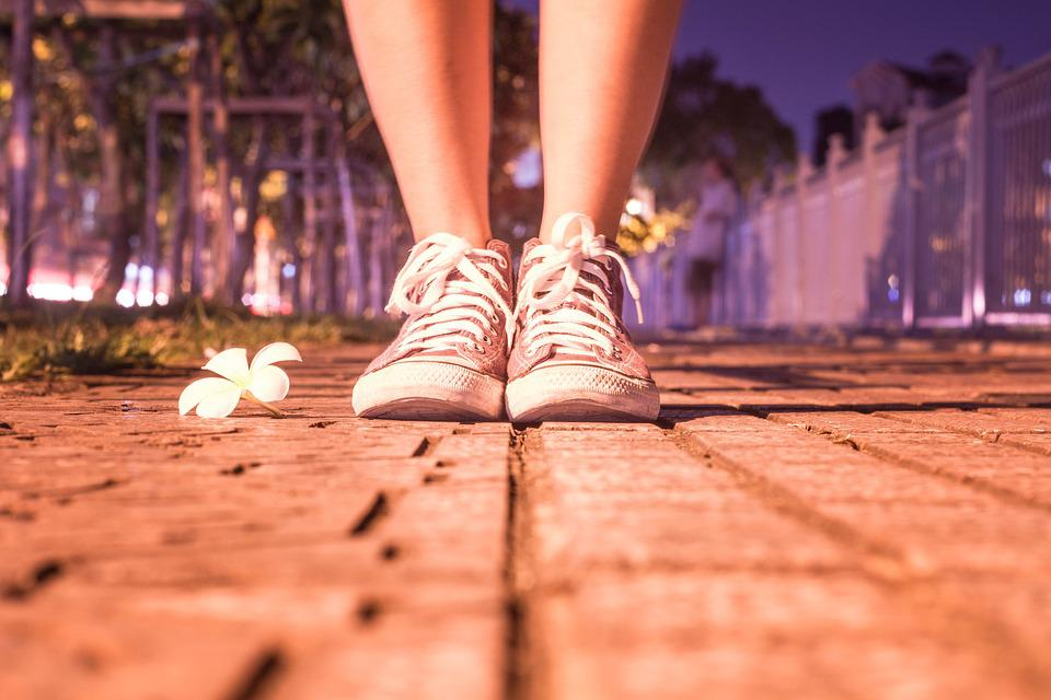 Alone, Art, Boot, Flower, Foot, Girl, Night, Road