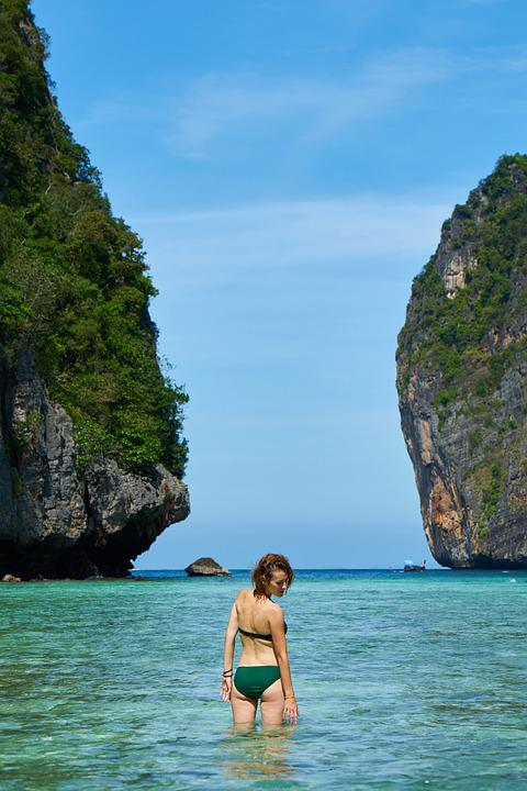 Model, Thailand, Marine, Ocean, Pose, Woman, Girl, Mayo