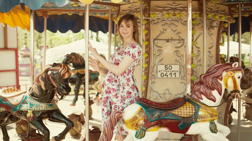 Girl On Carousel, Horse, Pregnant, Dress, Girl