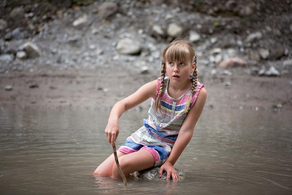 Water, Child, Girl, Splashing, Bach, Childhood, Out