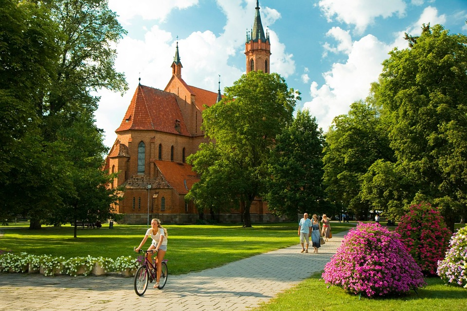 Girl, Bicycle, Park, Church