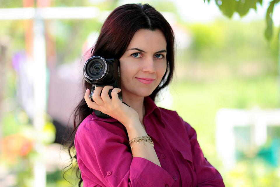 Photographer, Camera, Girl, Professional, Portrait