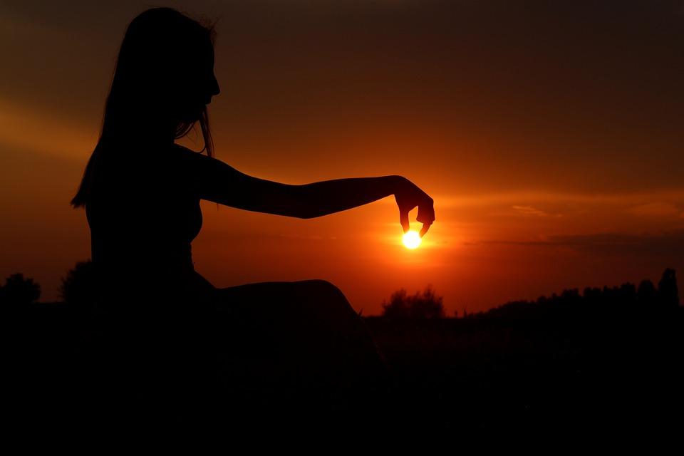 Sun, Shadows, Play, Sunset, Girl