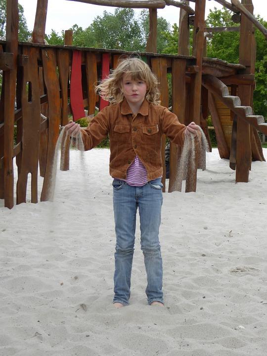 Girl, Child, Sand, Playground, Hourglass, Trickle, Play