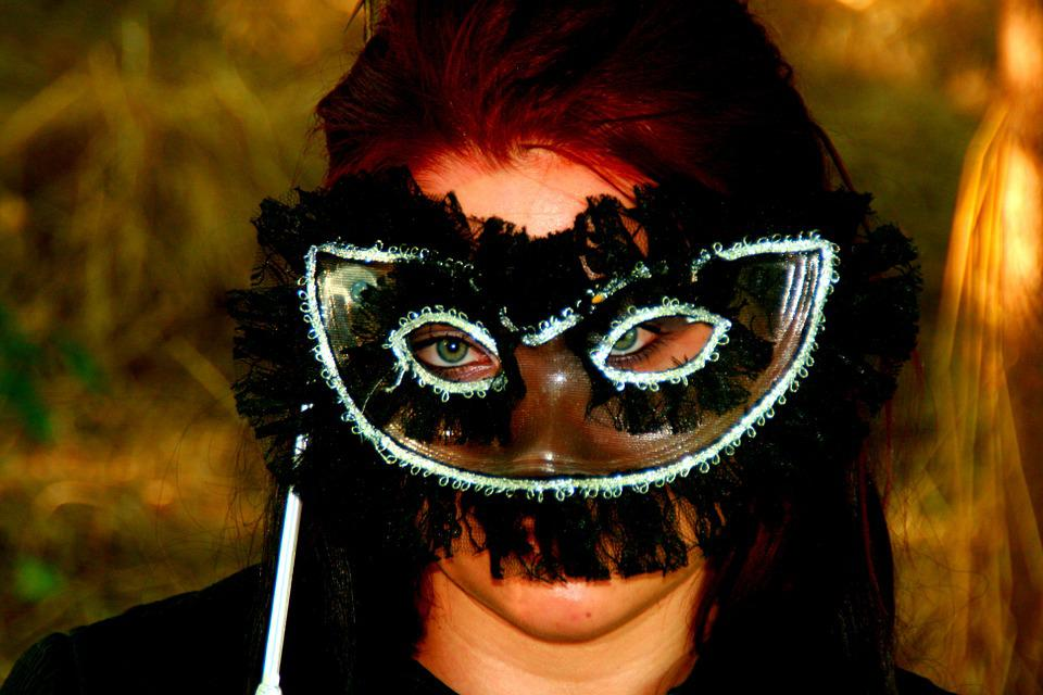 Girl, Portrait, Mask, Green Eyes, Seductive, Beauty