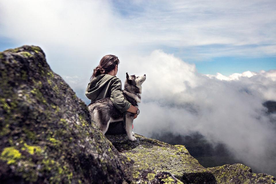 Sky, Woman, Clouds, Girl, Rocks, Mountain, Dog, Stones