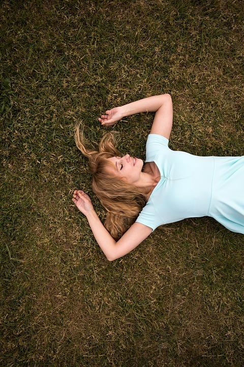 Romance, On The Grass, Lawn, Girl, Grass, Dress, Glade