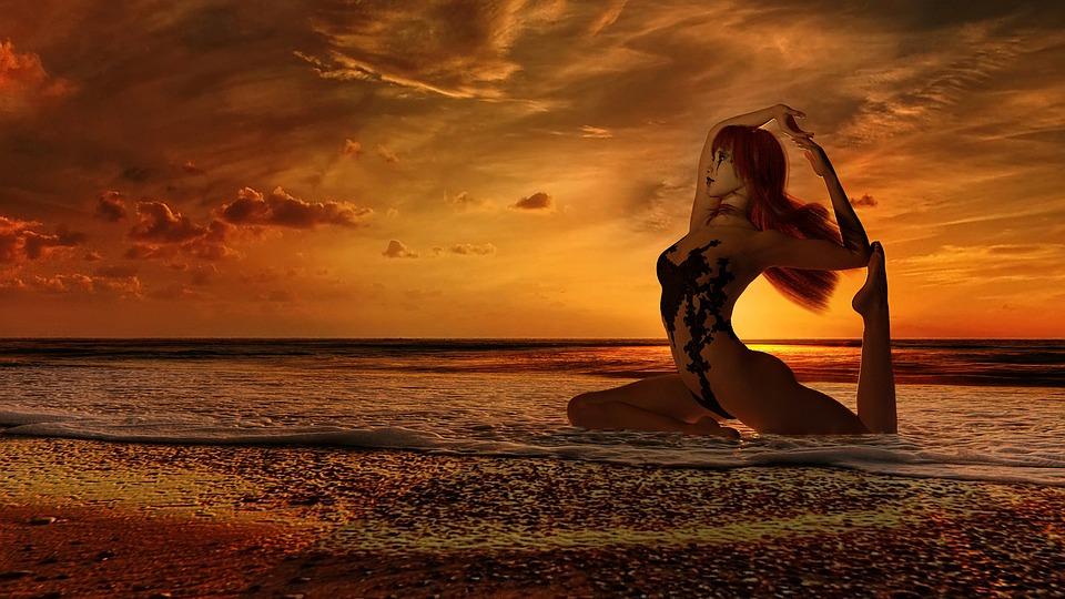 Silhouette, Girl, Yoga, Sexy, Yogini, Asana, Dance