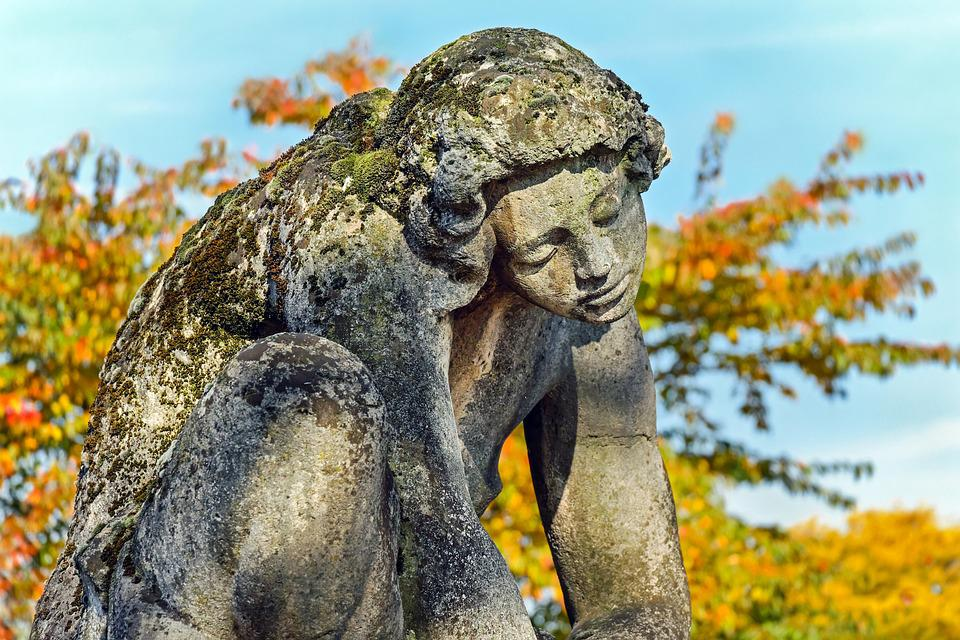 Sculpture, Stone, Fig, Girl, Sitting, Kummer, Suffering