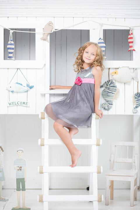 Girl, Sitting, Ladder, Young, Room, White, Cute, Happy