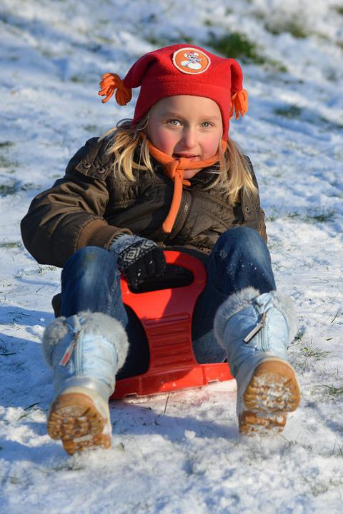 Sled, Child, Snow, People, Girl, Hat, Winter, Fun