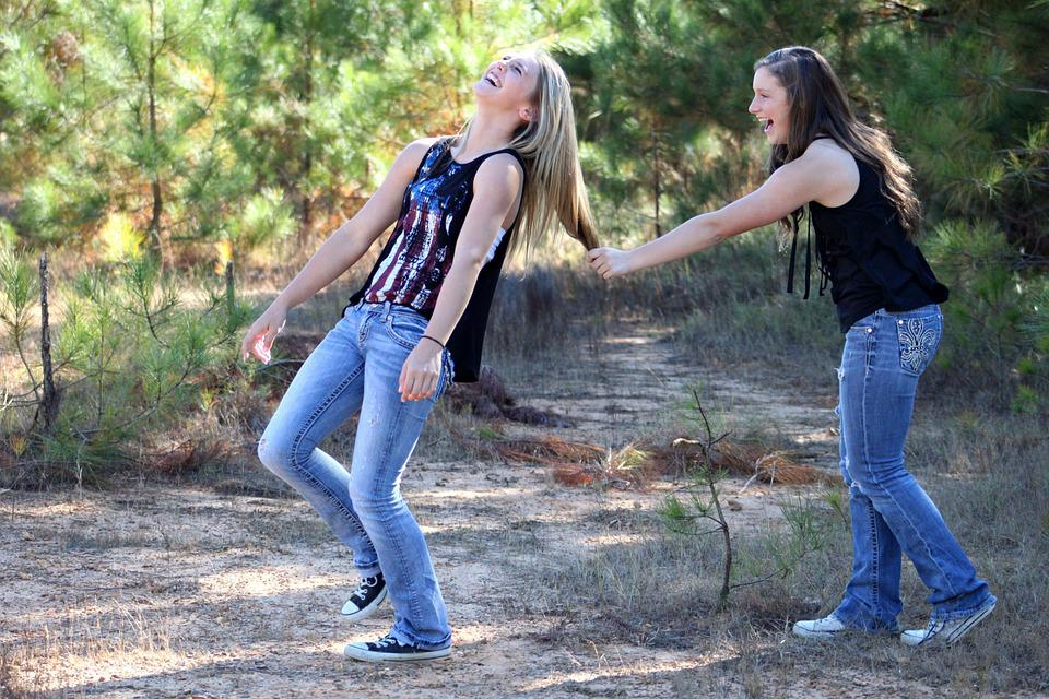 Girl, Best Friends, Outdoors, Smiling, Happy
