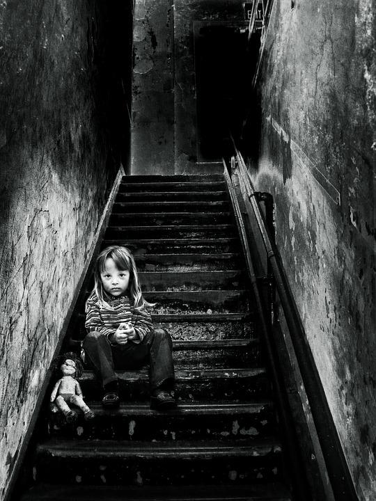 Image Manipulation, Girl, Doll, Stairs, Gradually