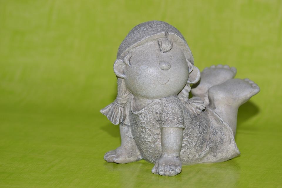 Girl, Ceramic, Imp, Troll, Stone Figure