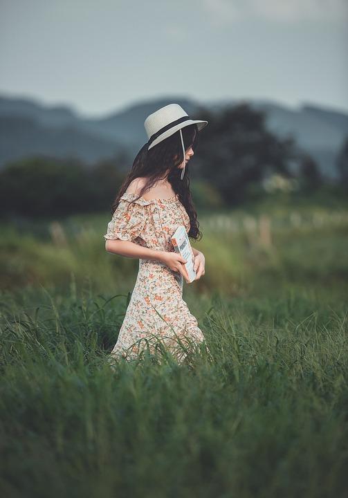 Girl, Meadow, Fashion, Dress, Hat, Woman, Style, Model