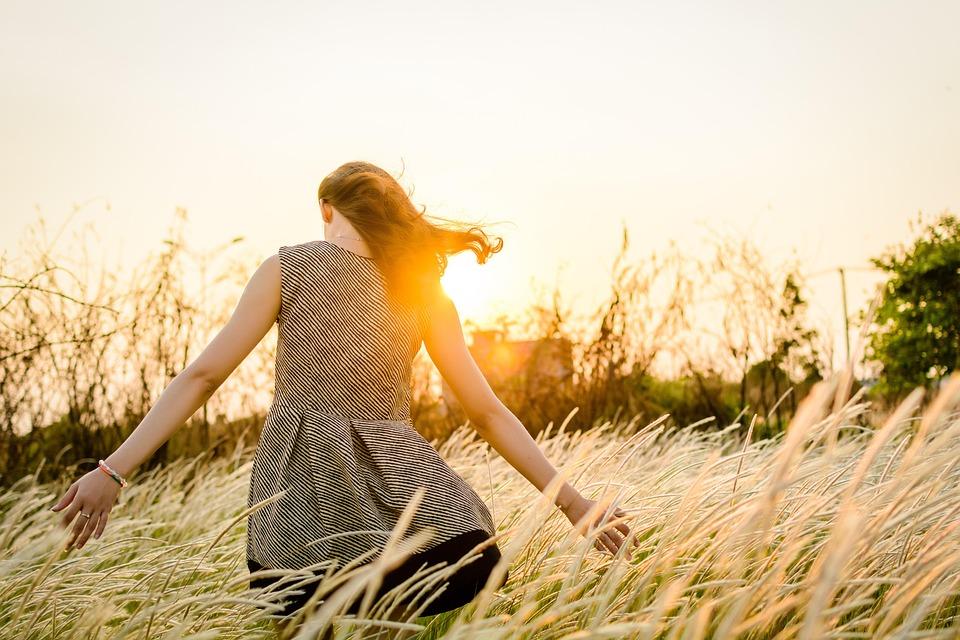 Girl, Field, Sunset, Grass, Walking
