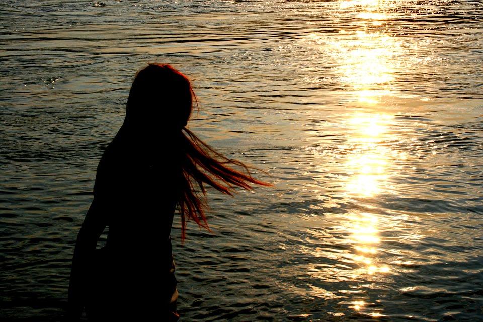 Girl, Shadow, Sunset, Long Hair, Wind, Reflection