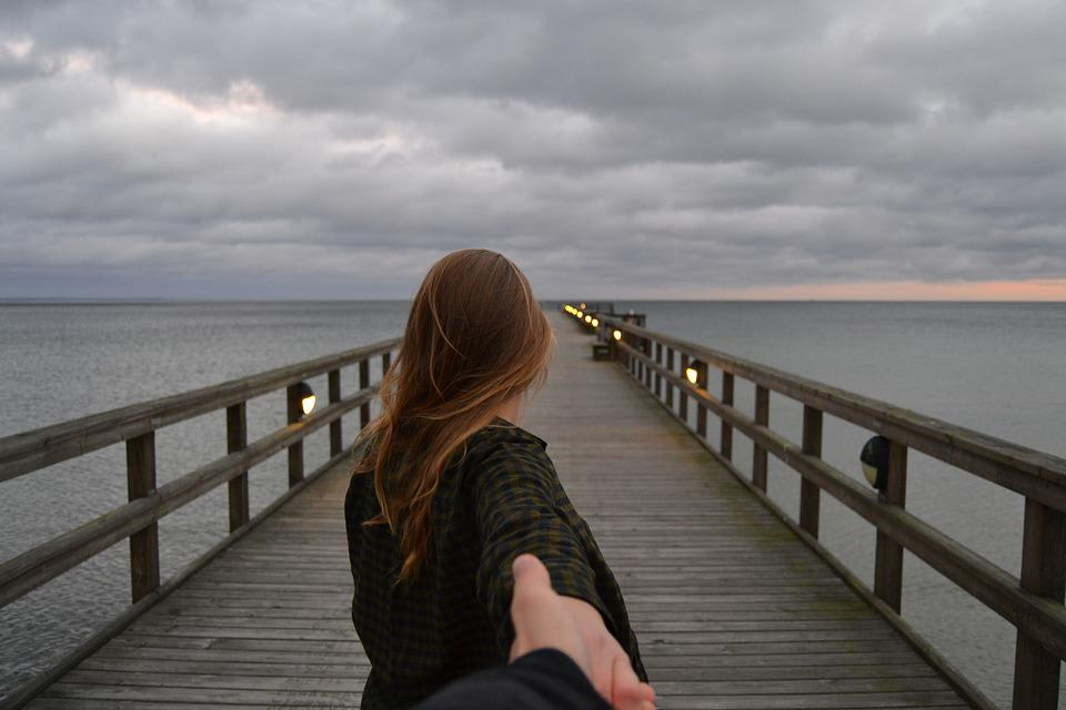 Pier, Girl, View, Sweden, Hold, Hand
