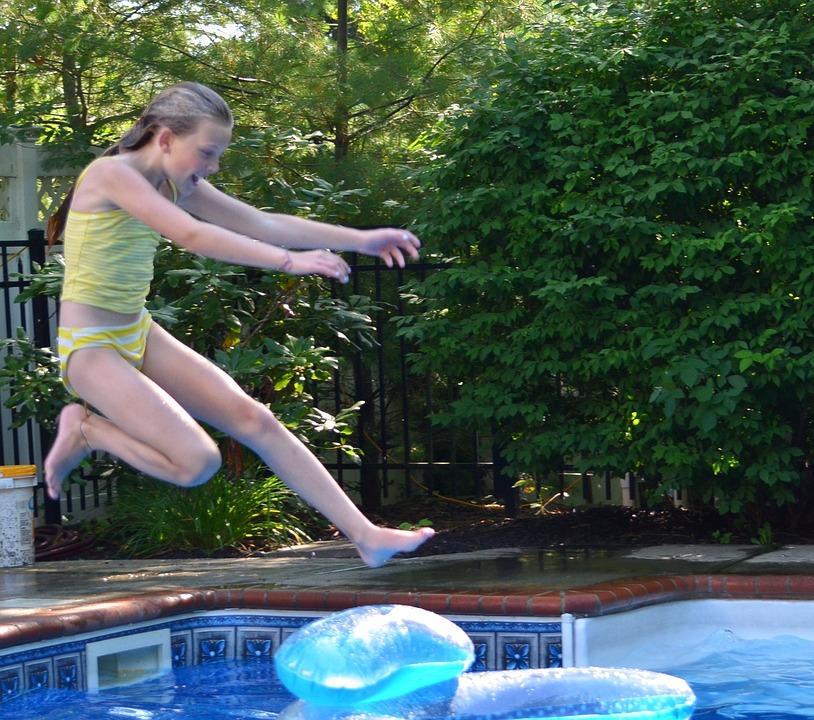 Girl, Swimming Pool, Jump, Child, Pool, Swim, Water
